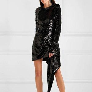 TDR17577 2020 Spring Long Sleeve Long Sleek Solid Color Beaded Short Mini Fashion Runway Dresses Vestidos QYM10