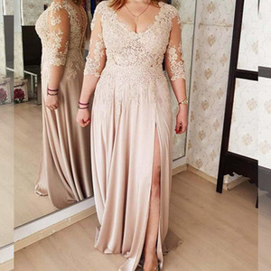 Sexy V Neck Mother's Dresses with 3 4 Long Sleeves Lace Appliques Wedding Party Mother of the Bride Dress