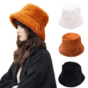 2020 nuevo chic invierno de las mujeres de color sólido afelpado la piel de imitación de ala ancha caliente grueso Bucket Cap sombrero de pescador sombrero cuenca