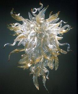 Lampe de lampe de feuilles modernes style de fleur à la main en verre soufflé lampe à lustres de verre de verre de verre pour la décoration de la maison avec ampoules à LED
