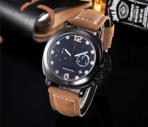 Alta Qualidade de marca famosa marca todos os ponteiros Trabalho Homens relógios de luxo Vogue Correia de couro Quartz sincronismo Calendário Relógio de pulso Swiss Made