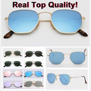 Echt Top-Qualität Platz 3548 Hexagonal Metall Marke Sonnenbrille Flachglaslinsen 51mm Größe mit Paketen alles rosa Quecksilber Silber grün