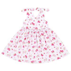 Flofallzique 유아 소녀 드레스 아기 여름 귀여운 딸기 V 넥 편안한 코튼 키즈 의류 CY200514