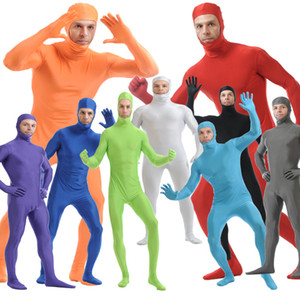 Adult Unisex Spandex Full Bodysuit Costume Men Women Halloween Second Skin Tight Jumpsuit Cosplay