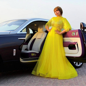 2020 Vestidos Tassel Yousef Aljasmi Dubai Árabe Prom Vestidos vestido de festa alta Neck Tulle Handmade Custom Made