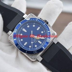 los hombres calientes br 0392 reloj cuadrado de movimiento automático Montre de luxe línea azul en Mecánica orologio di Lusso estilo deportivo reloj de pulsera correa de caucho