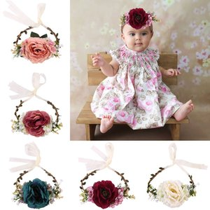 Hot Europe Infant Baby Headband Tieback Flower Crown Head Band Baby Flower Crown Photography Props Hair Band Hair Accessory 15079