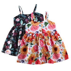 Kids Boho Casual Dresses Baby Girl Sling Strapless Flowers Print A-line Dresses Outfit Infant Clothing Sundress