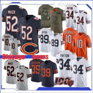 Chicago 52 Khalil Mack Urso Jersey 34 Walter Payton 10 Mitchell Trubisky 89 Mike Ditka 58 Roquan Smith 29 Tarik Cohen New costurado