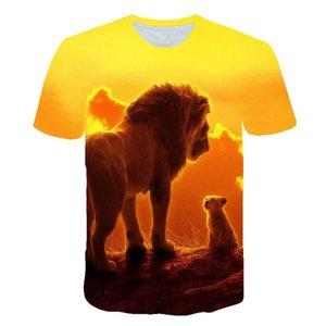 Şık Yaz spor kısa kollu tasarlanan 3d tişört hayvan Erkek / Bayan 3d aslan kral t shirt dijital Baskı clothin Tops