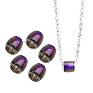6 Pièces Fantaisie changement de couleur Mood Thermo Sensitive Perles canon avec 50cm Collier à longue chaîne