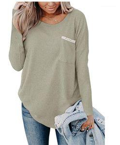 Designer Damen-T-Shirts Fest Farbe gedruckt Rundhalsausschnitt Taschen-Entwurfs-Strickoberteile der beiläufigen Frauen Kleidung loser Herbst-Winter