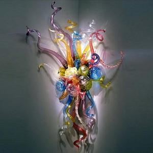 Arandela Início Wall Lights Blown Colorido Mão de vidro decorativo Dining Recados Lâmpadas Quarto frete grátis