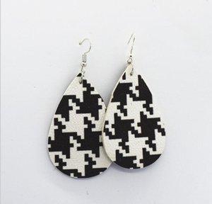 Beaux styles mixtes en cuir PU style écossais Plaid en cuir Drop boucles d'oreilles Lady filles boucles d'oreilles en gros