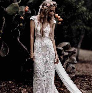 Moderne böhmische Brautkleider mit Ärmeln Hppie Crochet Cotton Lace Boho Land Mermaid Bridal Brautkleider