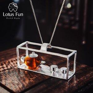 Lotus Fun Real Стерлингового Серебра 925 Ручной Работы Изящных Ювелирных Изделий Натуральный Янтарь Оригинальный Дизайн Чайник Кулон Без Ожерелья Для Женщин J190528