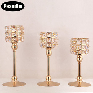 PEANDIM K9 Crystal Candle Lantern Gold Candle Holders Wedding Centerpieces Center Table Candlesticks Parties Home Decor