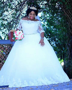2020 New Puffy Ball Gown Wedding Dresses Long Sleeves Lace Tulle Appliques Court Train Plus Size Custom Made Formal Bridal Gow