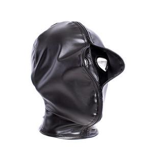 Capas para toda la cara cubierta Bondage Campana Bozal duales con cremallera Bondage máscara de la cabeza del cuero arnés de sujección Fetish Sex Toy nuevo diseño