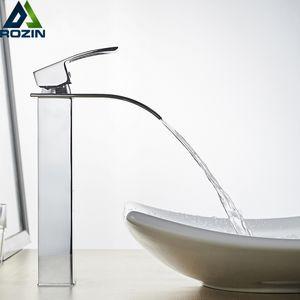 Rozin cascata lavandino rubinetto del bagno della piattaforma Monte calda acqua fredda lavabo Rubinetti cromo lucido Lavatory Sink Tap