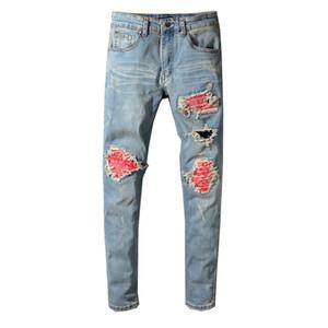 Мужские джинсы Мужские Мотоцикл Байкер Мода рваные джинсы Мужчины Женщины Straight Slim Fit Узкие джинсы Джинсовые брюки
