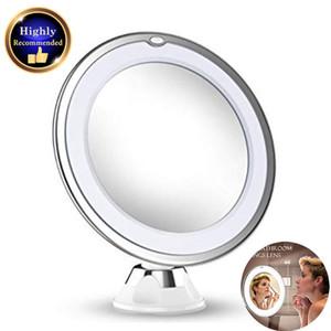 10 aumentos de maquillaje Espejo de baño con luces LED portátil de mano cosmética Aumento de luz para la mesa bea168 Baño Ducha