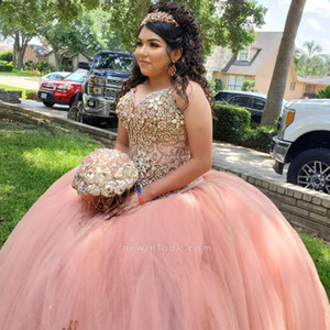 Blush Pink Crystal Beade Ball Gown Quinceanera Dress Sweetheart Shinny Stone Prom Vestidos de noche Vestido largo formal de desfile