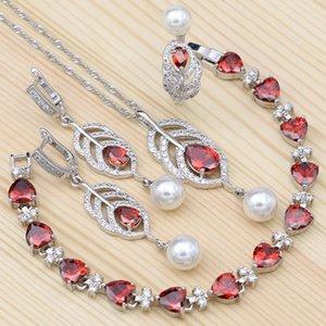 925 Silber Brautschmuck Red Zirkonia White Pearl für Frauen Hochzeit Herz Armband-Halsketten, Anhänger, Ohrringe Ring