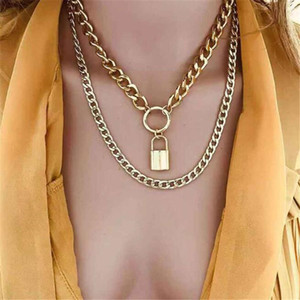 Diezi Mehrlagige Vintage-Kreis Schloss Halskette Punk Mode-Goldfarben-Metallketten-Halsketten für Frauen Schmuck