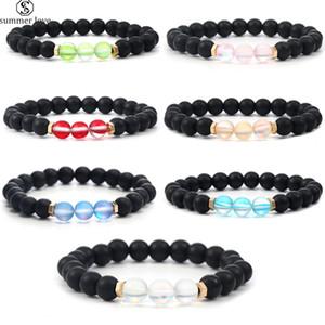 Nova colorido Spectrolite cristal ajustável pulseira Imitação Ágata Bead pulseira para mulheres Sorte Jóias Gift-Z