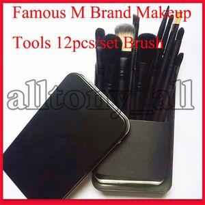 M famosa marca de maquillaje herramientas de 12 piezas de maquillaje cepillo del sistema de viajes de belleza profesional de la fundación cosméticos del maquillaje Cepillo