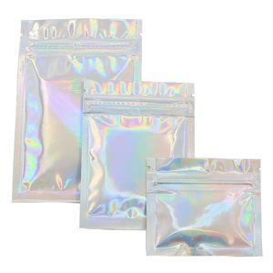 Großhandelspreis PET Holographic Storge Flachbeutel Laser Mylar Folienbeutel wiederverwendbare Kosmetik Paket-Beutel 100 PCS