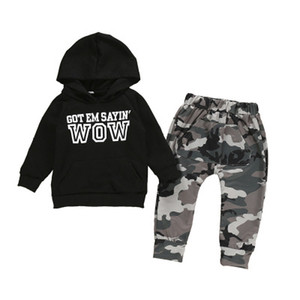 INS Baby Kids camouflage outfit 2020 spring children letter printed long sleeve hooded sweatshirt+camouflage casual pants 2pcs sets A1954