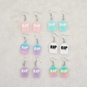 1pair Cute Multicolor Resin RIP Plate Earring for children Birthday Gift Woman Jewelry