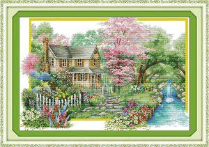 Flores villa decoração de casa pintura, conjuntos de Bordado Bordado Handmade do ponto da cruz contados impressão sobre tela DMC 14CT / 11CT