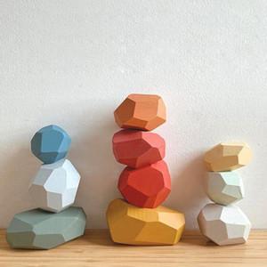 10 pz Bambini in legno colorato pietre costruzione blocco giocattoli educativi giocattolo creativo gioco Rainbow giocattolo regalo per bambini