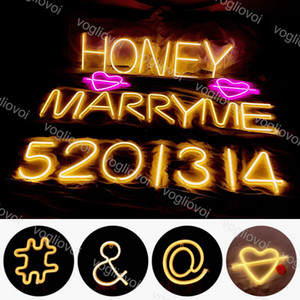 Neon LED stringa di segno della luce 26 Lettera parete alfabeto luce a sospensione a luce Night 3D Camera di Natale Wedding Birthday Party Decoration EUB