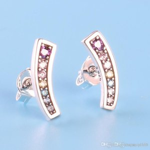 Womens Authentic 925 Sterling Silver Color CZ Diamond Earring Original Gift box for Pandora Rainbow Stud Earring Free shipping
