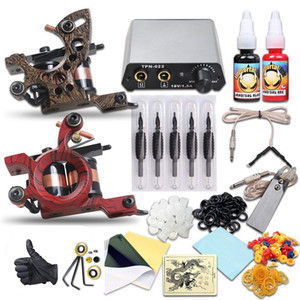Beginner Tattoo Kit Liner Shader Coils Machines Mini Power Supply Disposable Needles Immortal Inks Tattoo Supply
