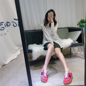 2020 Mens Womens Fashion Luxury White Leather Black Back Platform Shoes Flat Casual Shoes Lady Black Pink Gold Women White sneakers