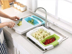 Manufacturers direct multi - functional adjustable sink water cutting board household cutting fruit and vegetable anvil board