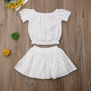 Summer Infant Baby Girls Lace Set Kids White Short Tops + Skirt Girl 2pcs Outfits Children Set 15032