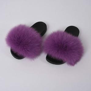 New Lady Fox Fur Slippers ladies Women Fashion Sliders Spring Summer Autumn Fur Slides Indoor Outdoor Flat