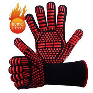 Gants Barbecue Résistance BBQ haute température du four à micro-flammes prévention Ignifuge Gant Stripe Flèche Protection Cuisine 13ll H1