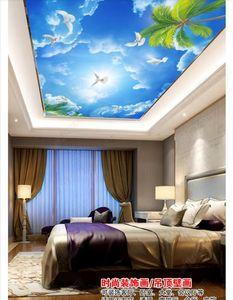 مخصصة 3d الحرير ذروة جدارية خلفية الصورة الديكور السماء الزرقاء الغيوم البيضاء الحمام نوم غرفة المعيشة ذروة السقف جدارية