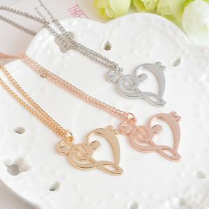 Love Note hängende Halsketten-Musik-Anmerkung Herz von Alt- und Bassschlüssel-Halskette Frauen Unendlichkeit Charme-Weinlese Opulente Halskette Partei Schmuck