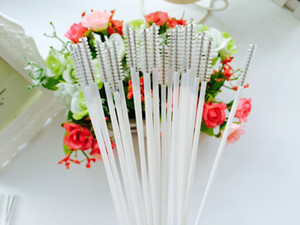 16.5cm * 5mm 100 Pcs   lot Stainless Steel Wire Plastic Handle Straw Cleaner Cleaning Brush Straws Cleaning Brush Bottle Brush