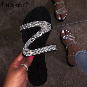 TINO KINO cristal de las mujeres de Bling abiertas del dedo del pie Zapatillas Resbalón plano Mujer tirón exterior Flops Zapatos Casual Diapositivas moda playa del verano