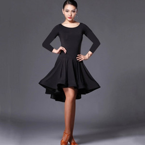 Latin Dance Skirt Woman Practice Dress 2019 Performance Latin Dance Skirt Red Black Woman Rumba Cha Cha Dresses F1