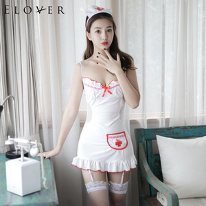 Elover تأثيري ملابس النوم ملابس داخلية مثيرة موحدة النساء مثير الخامس الرقبة السباغيتي حزام المرقعة نوم
